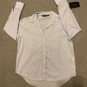 Zara Basics blue pin striped button down shirt